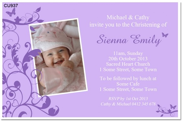 cu937 new little butterfly christening invitation
