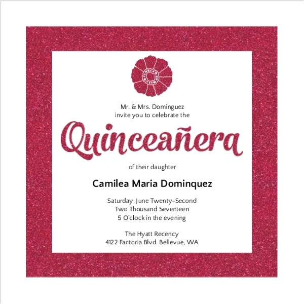 modern pink glitter quinceanera invitation