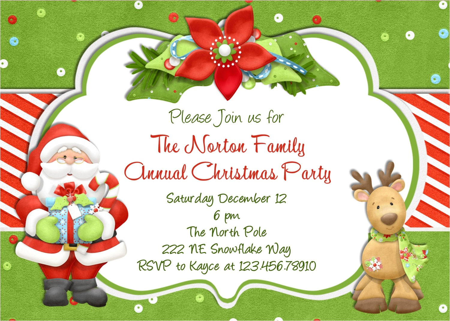 christmas party invitation santa
