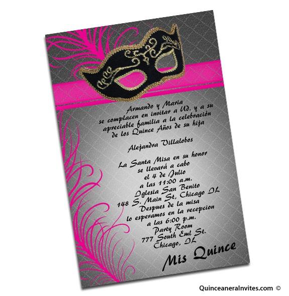 masquerade quinceanera invitations