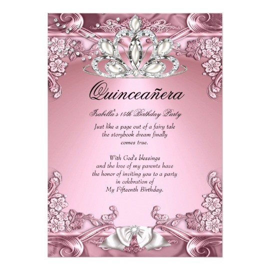 quinceanera pink 15th birthday party card 161774162272381550