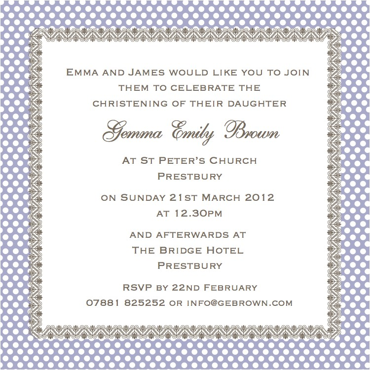 christening invitation wording just