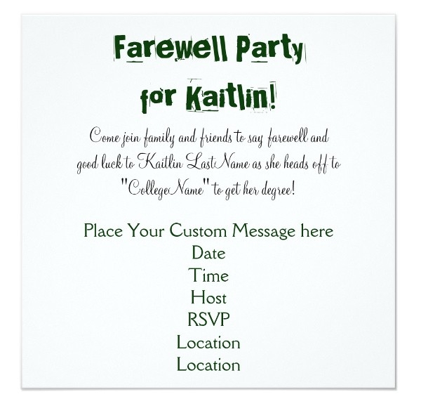 farewell dinner invitation