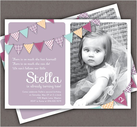 bunting invitation photo printable invite year