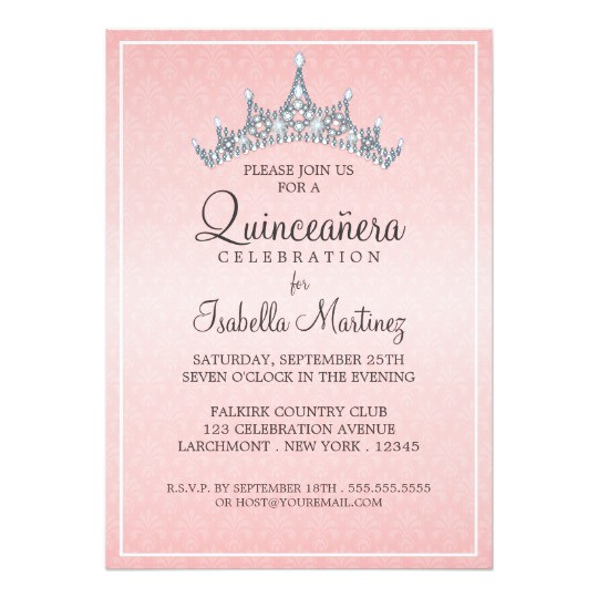 glam tiara quinceanera celebration invitation 161285274181804356