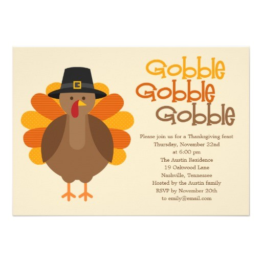 gobble gobble thanksgiving party invitation 161515786662347507