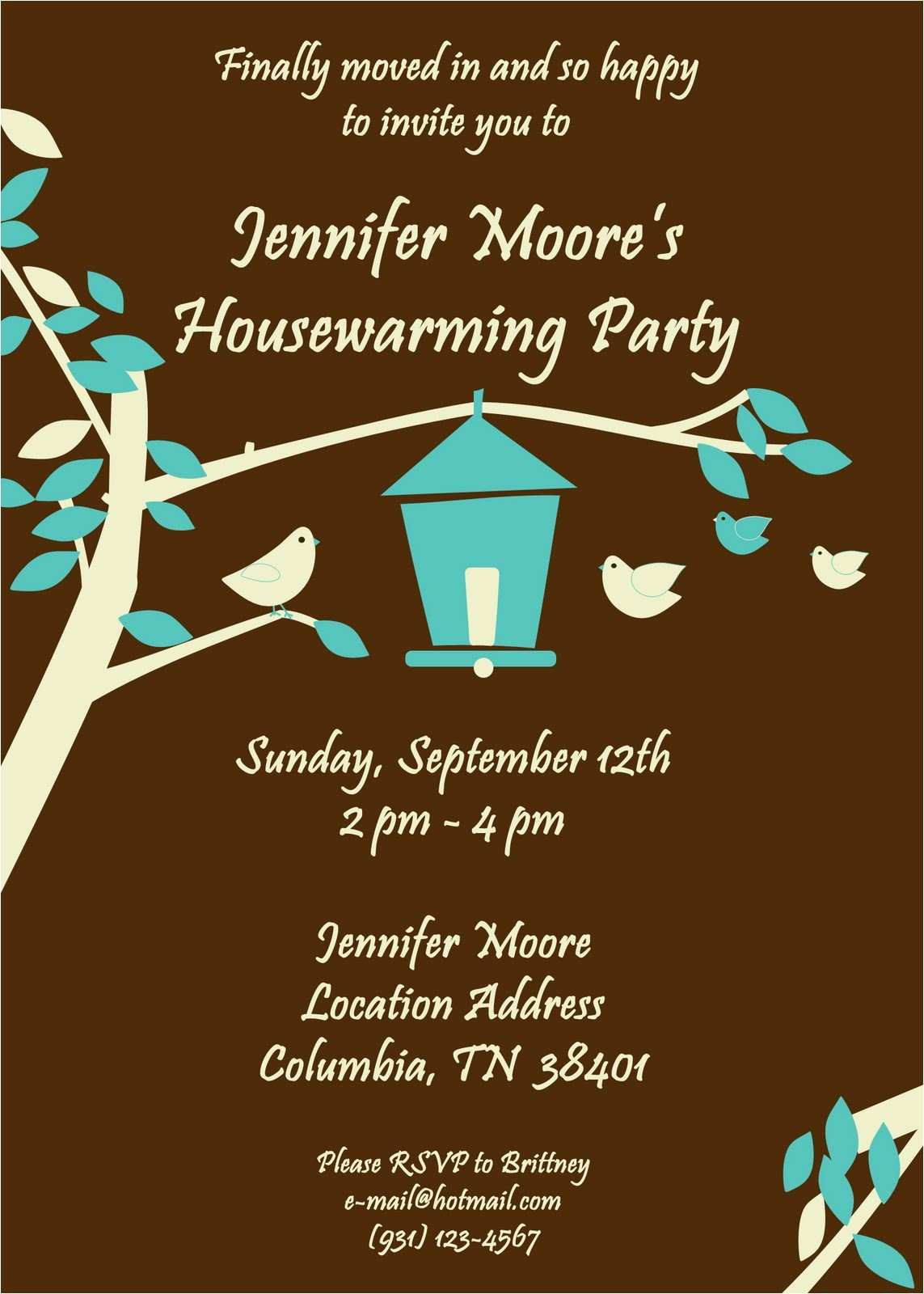 housewarming party cake invitation