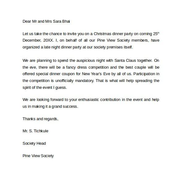 Invitation Letter for Birthday Dinner 18 Invitation Letters Sample Templates