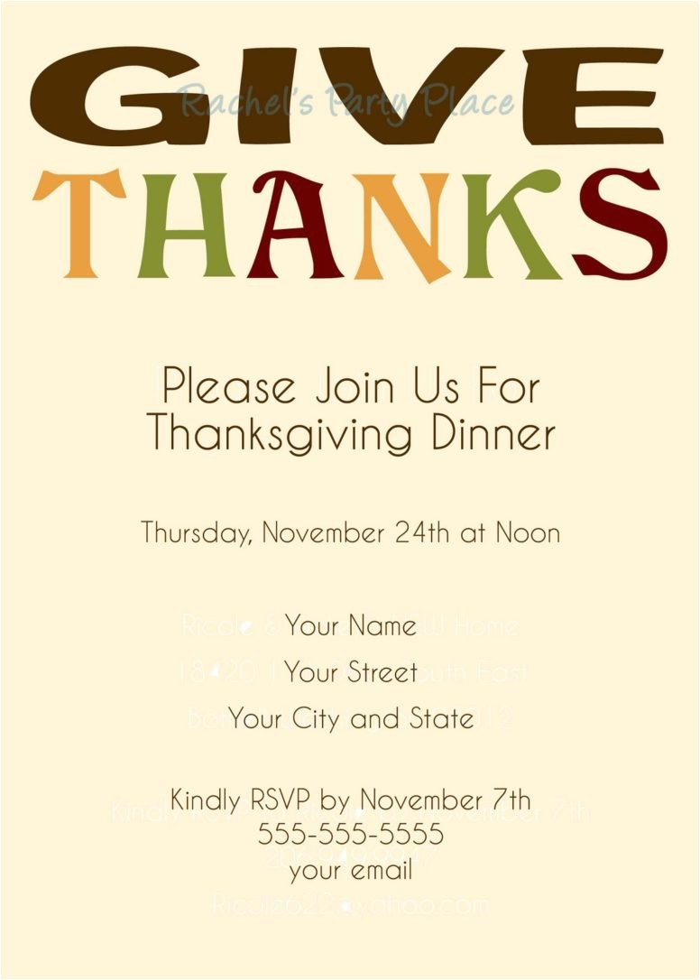 easy thanksgiving dinner invitation card design with script fonts and colorful autumn leaves decals