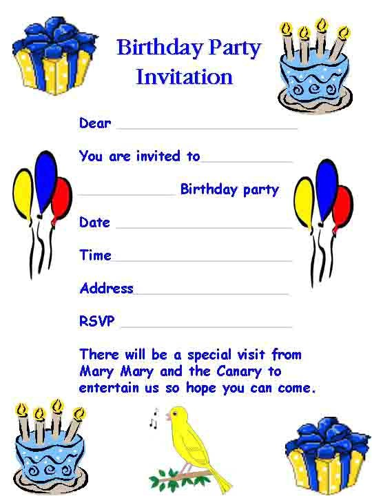 birthday party invitation template word 2