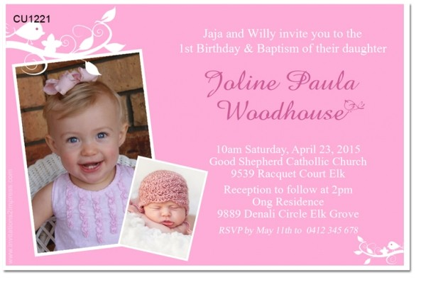 cu1221 girls 1st birthday and christening invitation