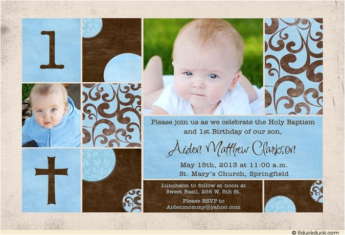 chic baptism or christening invitation
