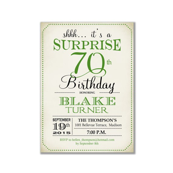 surprise 70th birthday invitation any