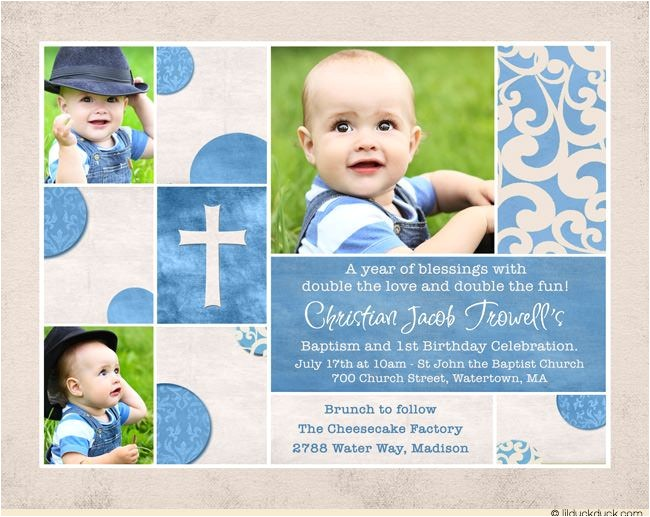 shabby chic baptism birthday invitation