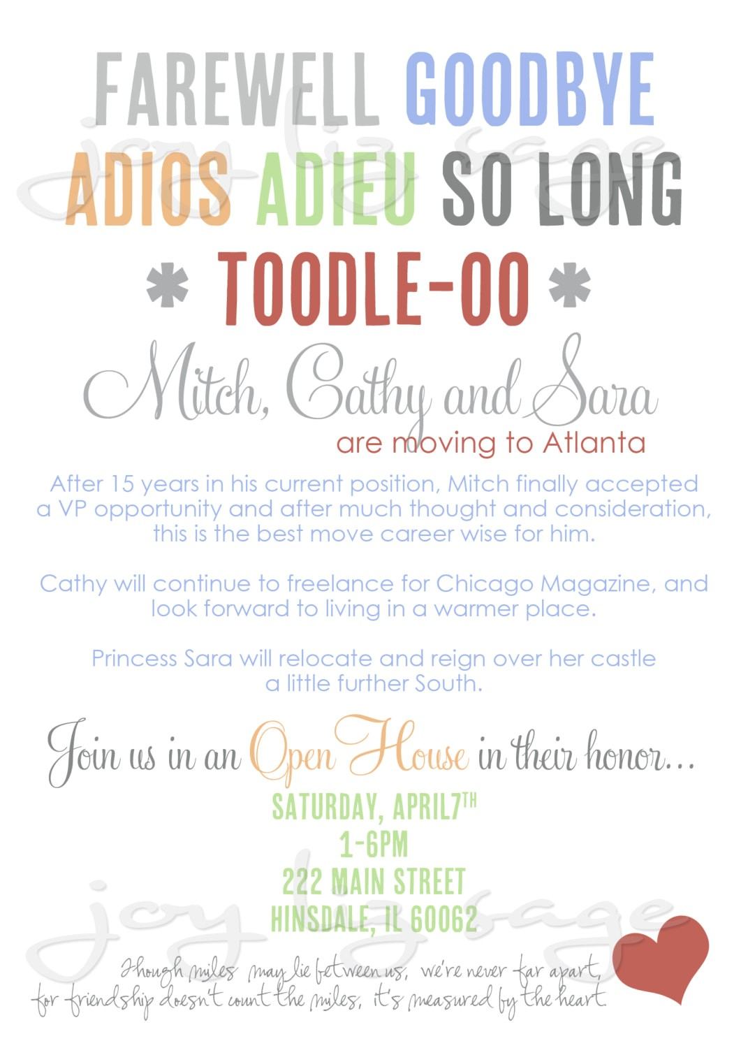 farewell party invitation wording template