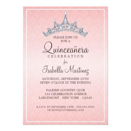 glam tiara quinceanera celebration invitation 161285274181804356