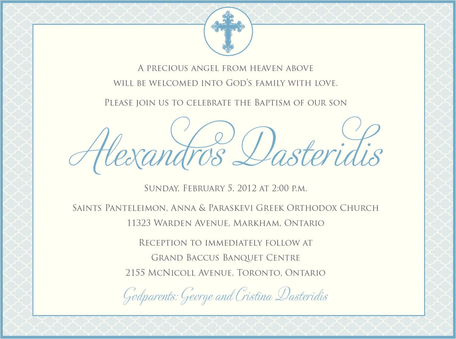 catholic baptism invitations wording