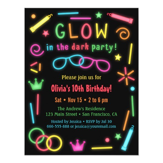 faux glow in the dark birthday party invitations 256285426500181795