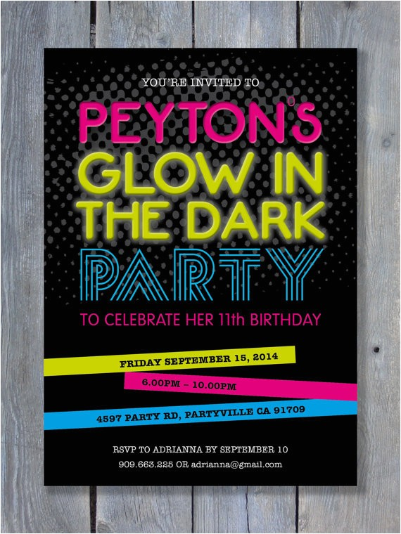 glow in the dark party invitation for