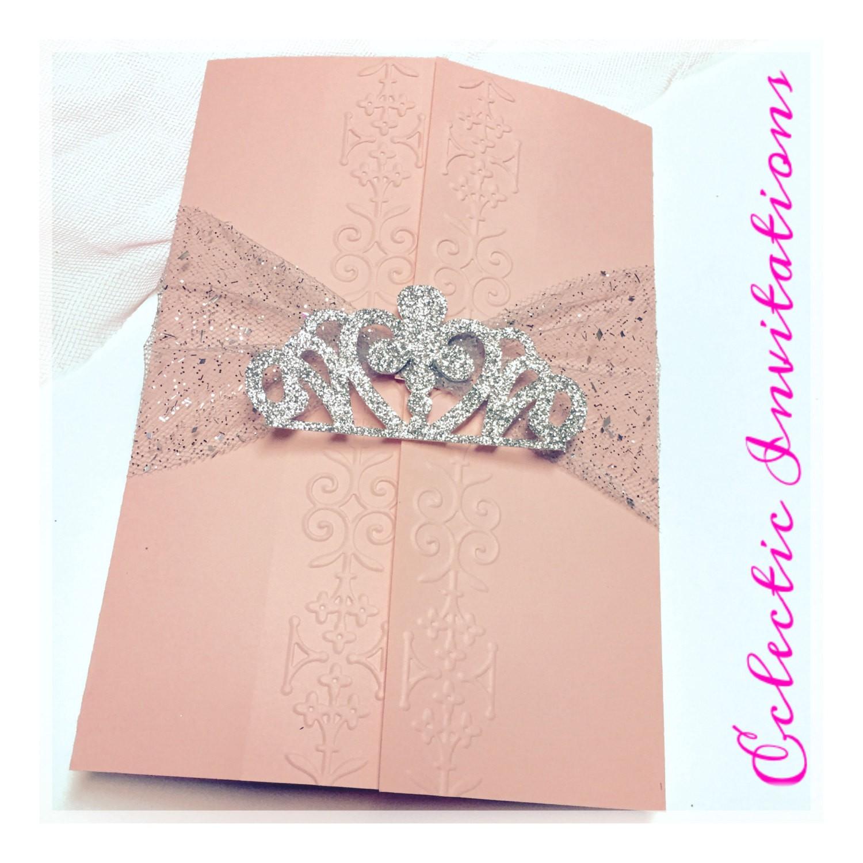 50 pink princess invitations quinceanera