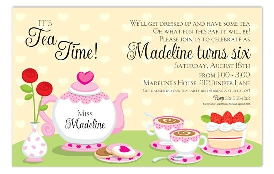 tea party invitation wording