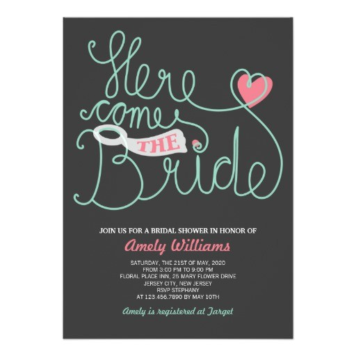 script lettering grey mint bridal shower invite