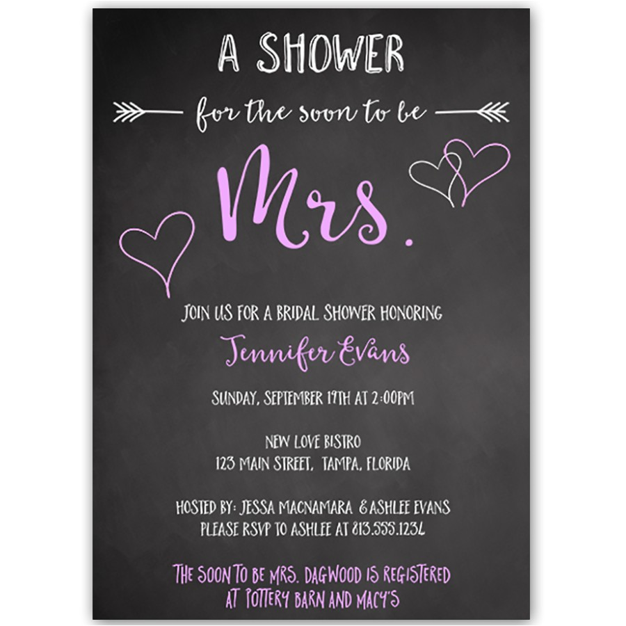 soon to be mrs purple bridal shower invitation