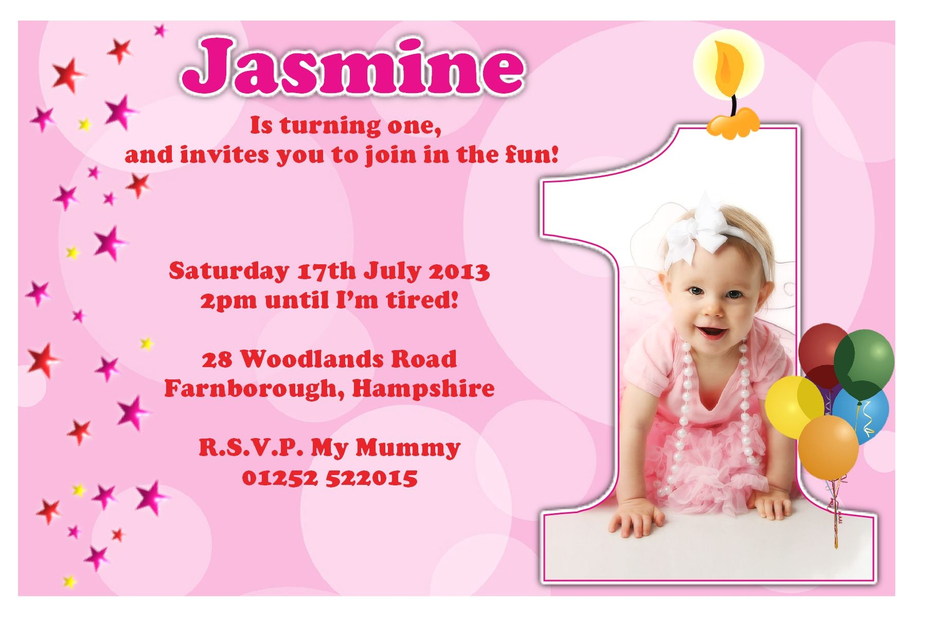 baby girls 1st birthday invitation cards ideas