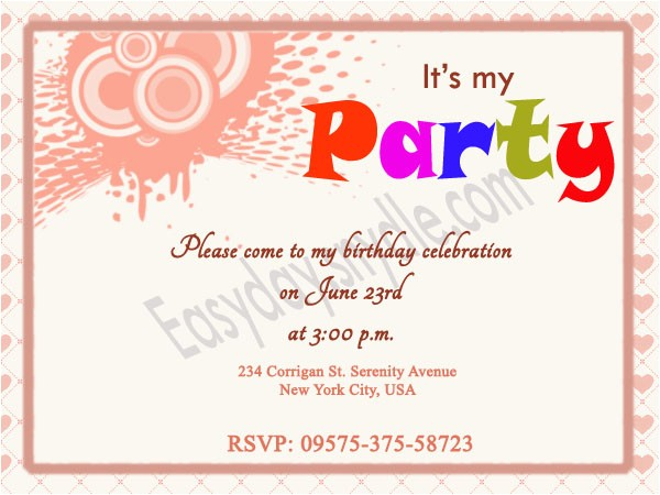 Inviting for Birthday Party Words Birthday Invitation Wording Easyday