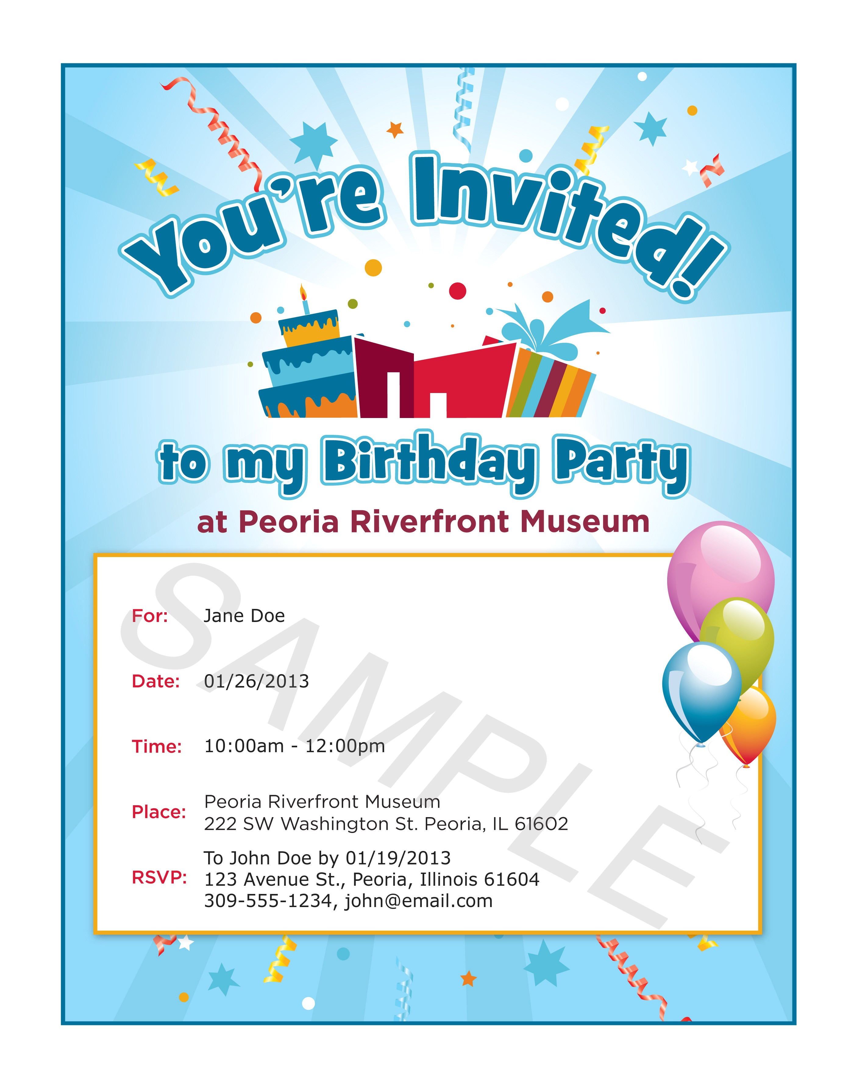 birthday party invite wording