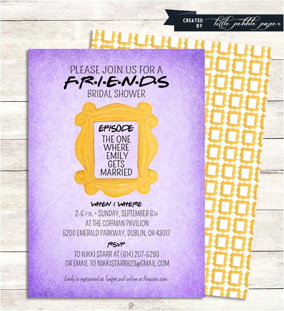 friends tv show shower invitation bridal