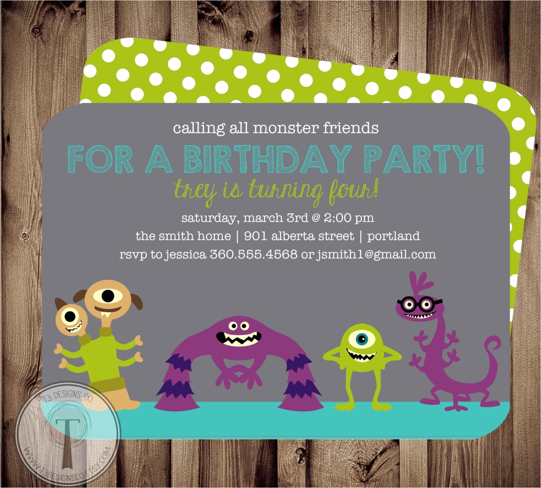 monster friends birthday invitation