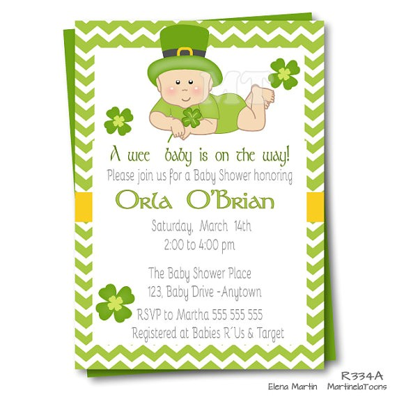 irish baby shower invitation st patricks