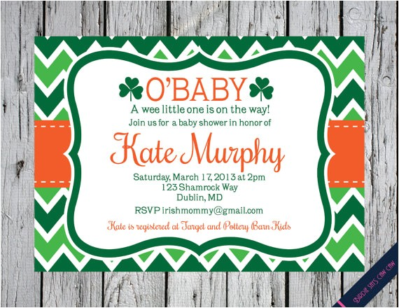 irish shamrock baby shower invitation utm source=Pinterest&utm medium=PageTools&utm campaign=
