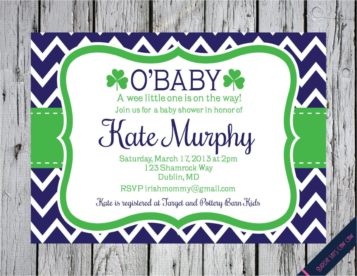 irish shamrock baby shower invitation