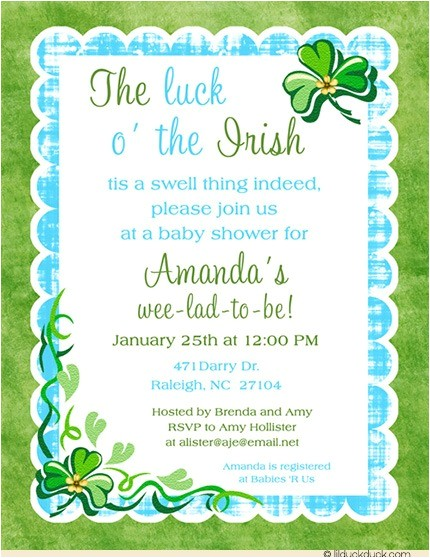 shamrock irish baby shower invitation
