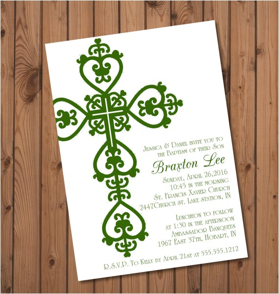 irish baptism invitation boys