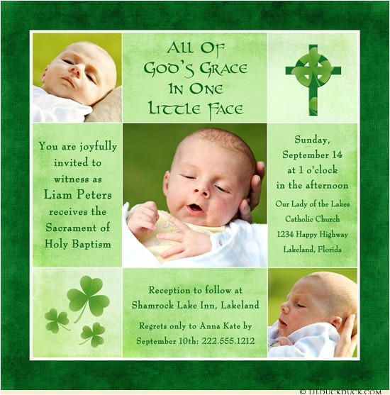 irish shamrock baptism invitation