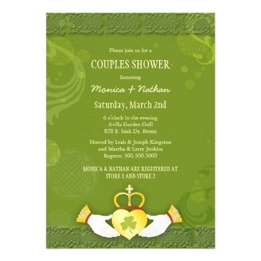 bridal shower invitations irish theme