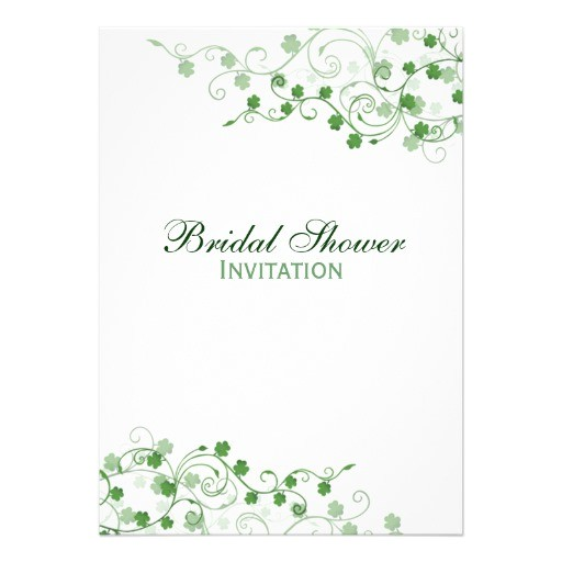 "Irish Bridal Shower Invitations Clover Irish Bridal Shower Invitation 5"" X 7"" Invitation"