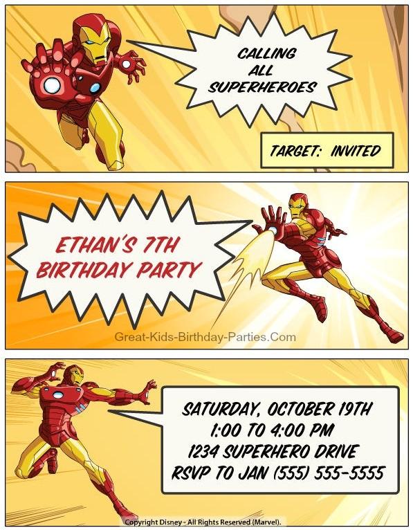 iron man invitations