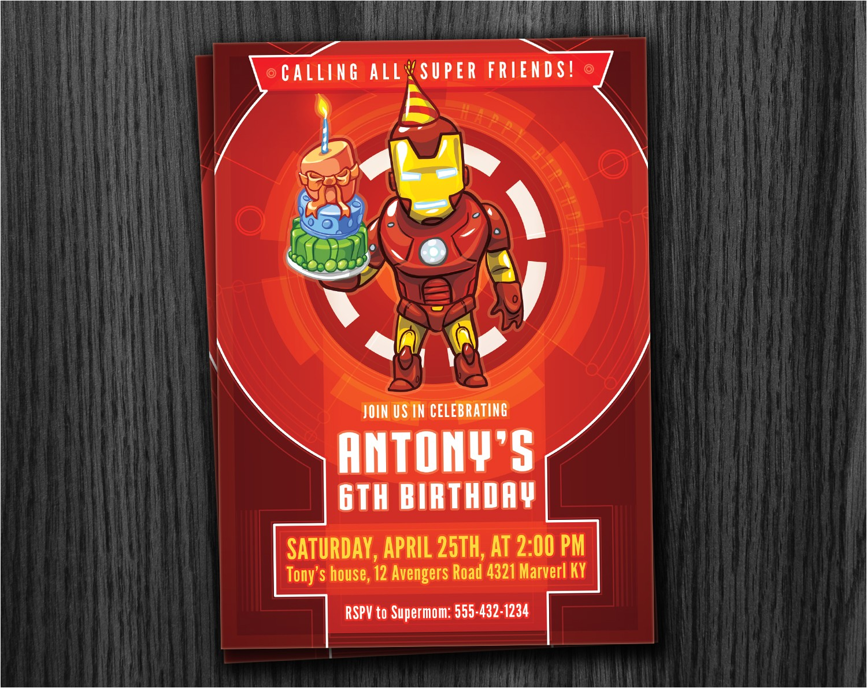 ironman invitation birthday printable