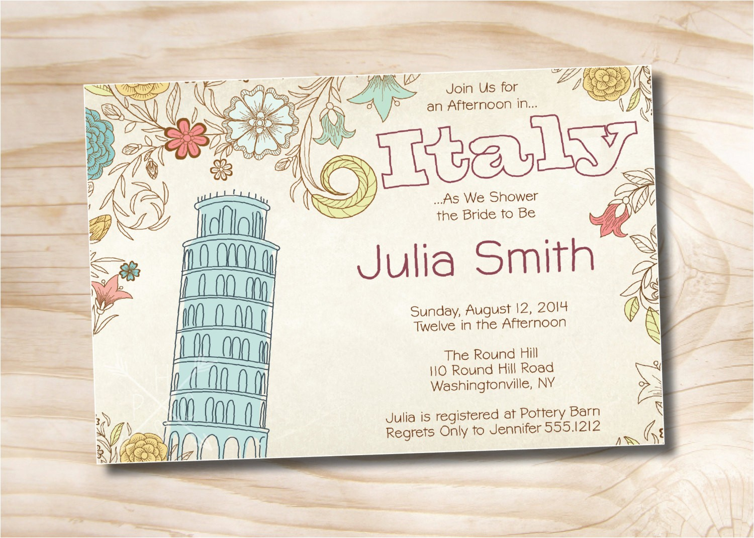 italian bridal shower invitation