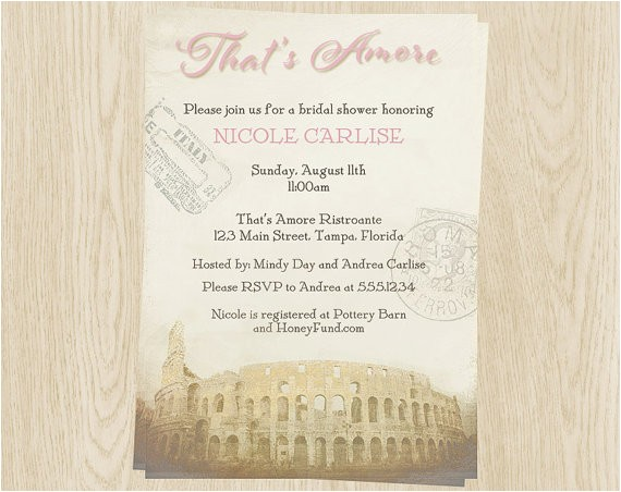 italy theme bridal shower invitations