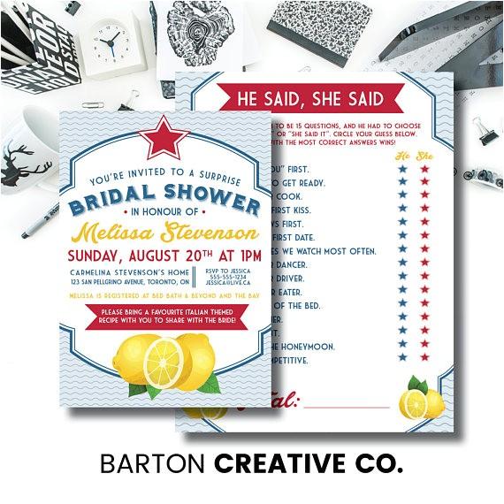 italian themed shower invitation and