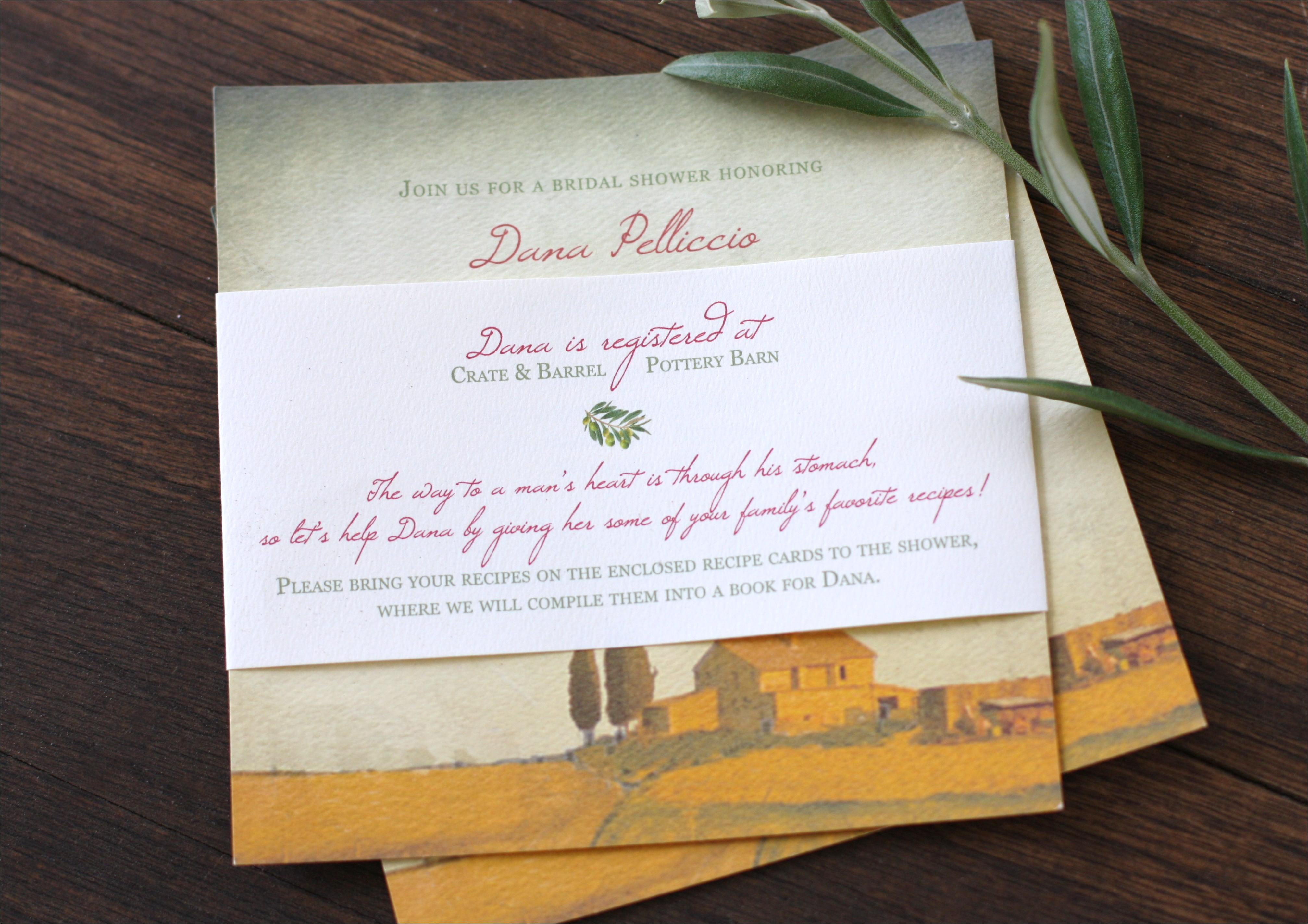 tuscan bridal shower