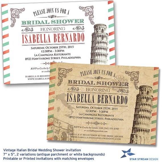 Italian themed Bridal Shower Invitations Vintage Italian Bridal Wedding Shower by Starstreamdesign