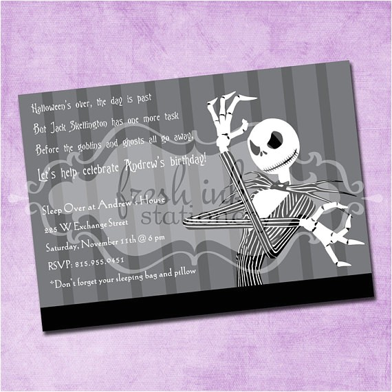 Jack Skellington Birthday Invitations Items Similar to Jack Skellington Birthday Invitation On Etsy