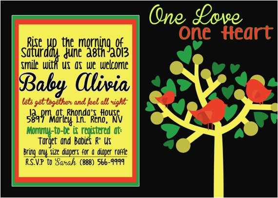 rasta bob marley baby shower invitation
