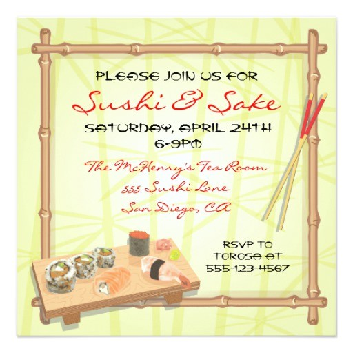 Japanese Dinner Party Invitations Japanese Sushi Party Invitations Zazzle